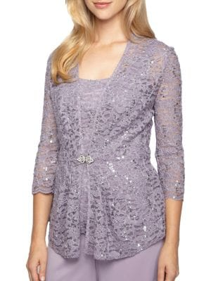 Lace Tank Top and Jacket Set by Alex Evenings