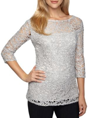 Boatneck Lace Blouse by Alex Evenings