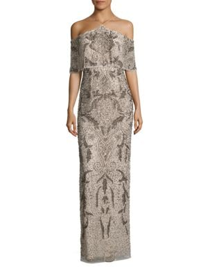 Photo of Aidan Aidan Mattox Beaded Cold-Shoulder Gown
