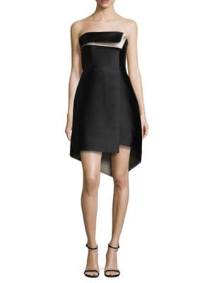 Strapless Silk Blend Structure Dress by Halston Heritage