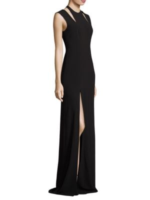 Cold Shoulder Crepe Evening Gown by Halston Heritage