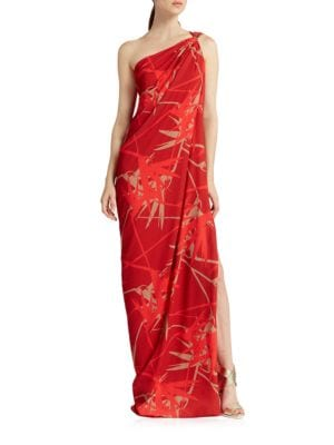 Printed One Shoulder Drape Gown by Halston Heritage