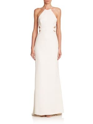Cutout-Back Halter Gown by Halston Heritage