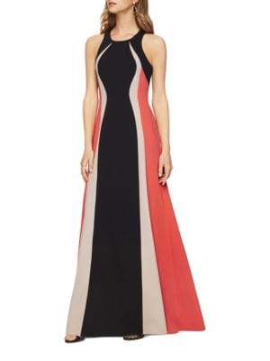 Johanna Colorblocked Crepe Gown by BCBGMAXAZRIA
