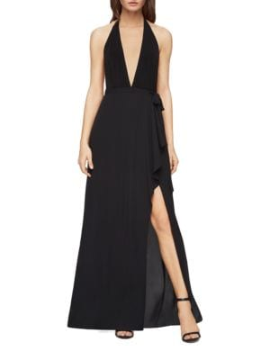 Mock-Wrap Halter Gown by BCBGMAXAZRIA