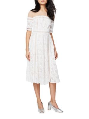 Jewelneck Short-Sleeve Dress by RACHEL Rachel Roy