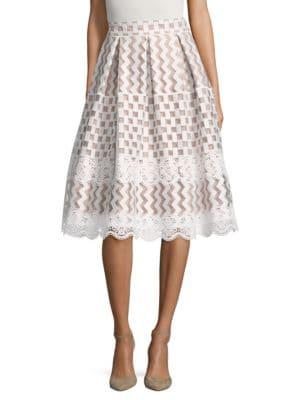 Semi-Sheer Pleated A-Line Skirt by Eliza J
