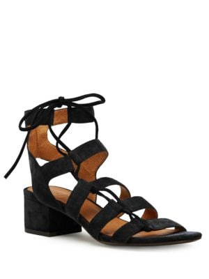 Photo of Chrissy Side Ghillie Suede Sandals by Frye - shop Frye shoes sales