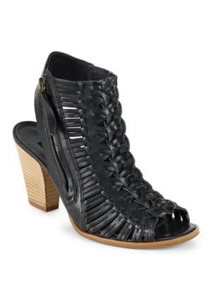 Miranda Woven Leather Open Toe Heels by Paul Green
