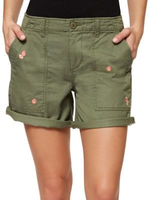 Cotton-Blend Roll-Up Shorts by Sanctuary