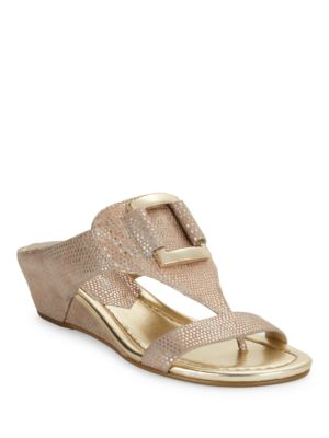 Duan Lizard-Embossed Suede T-Strap Sandals by Donald J Pliner