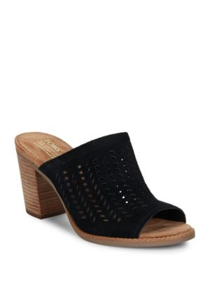 Majorca Suede Cutwork Mules by TOMS