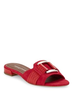 Falta Lizard-Embossed and Suede Sandals by Donald J Pliner