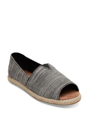 Alpargata Fabric Open Toe Striped Espadrilles by TOMS