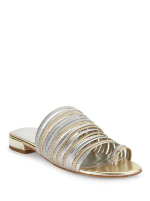 Frea Strappy Leather Metallic Sandals by Donald J Pliner