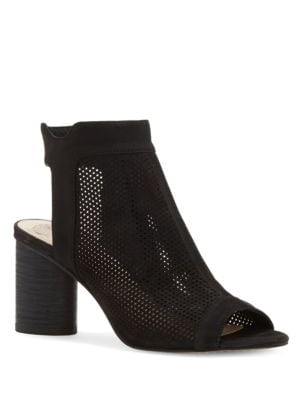Jakayla Perforated Zippered Suede Sandals by Vince Camuto