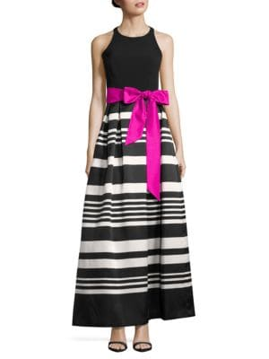 Sleeveless Striped A-Line Ball Gown by Eliza J