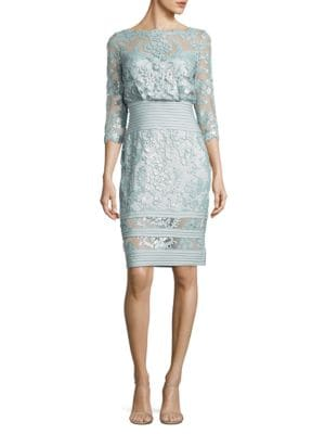Boatneck Three Quarter Sleeve Floral Dress by Tadashi Shoji