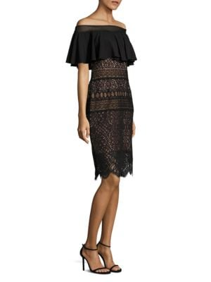 Ruffled Lace Off-The-Shoulder Dress by Tadashi Shoji