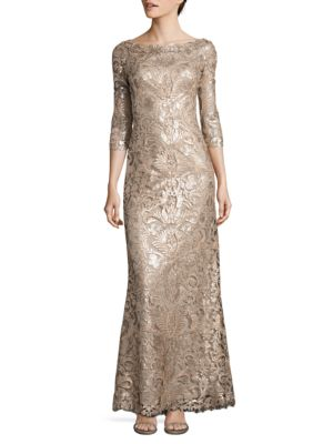 Three-Fourth-Sleeve Sequin Embellished Gown by Tadashi Shoji