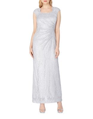 Cap Sleeve Lace Column Gown by Tahari Arthur S. Levine