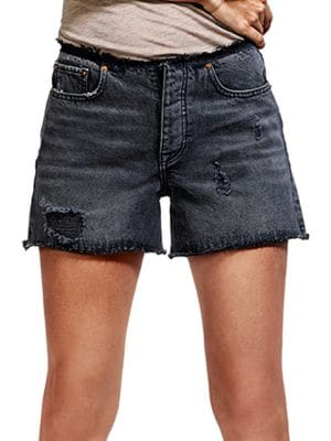 Distressed Four-Button Shorts by Dl