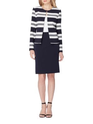 Two-Piece Striped Jacket and Skirt Suit