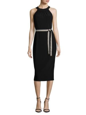 Belt Accented Halterneck Dress by Tommy Hilfiger