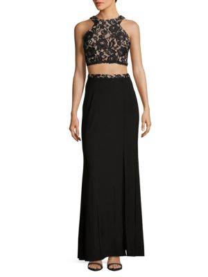 Lace Cropped Top and Skirt Set by Xscape