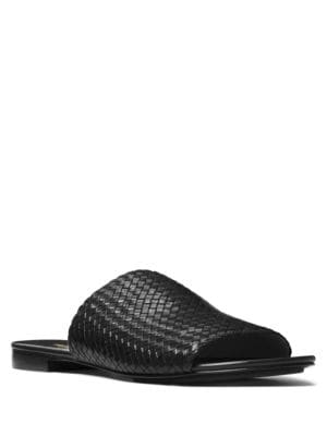 Byrne Woven Leather Slides by Michael Kors Collection