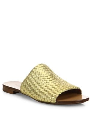 Byrne Woven Metallic Leather Slides by Michael Kors Collection