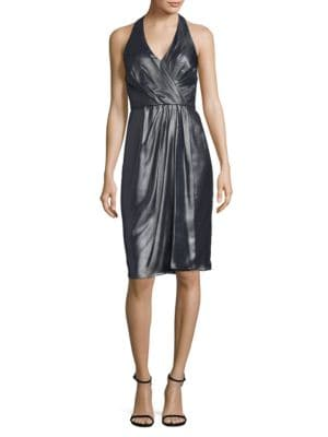 Foil Sleeveless Wrapped Dress by Vera Wang