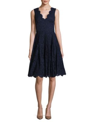 Solid Scalloped Lace Dress by Vera Wang