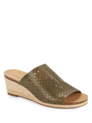 Jemya Leather Espadrille Wedge Slides by Lucky Brand
