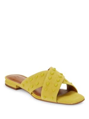 Nora Studded Suede Criss-Cross Sandals by H Halston