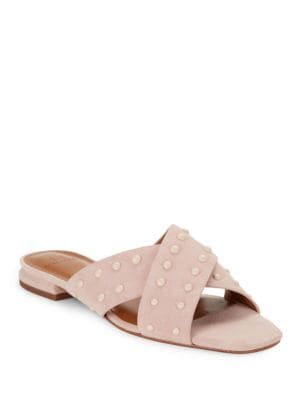 Studded Suede Criss-Cross Sandals by H Halston