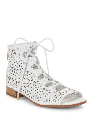 Lonnie Leather Open Toe Lace-Up Boots by IMNYC Isaac Mizrahi