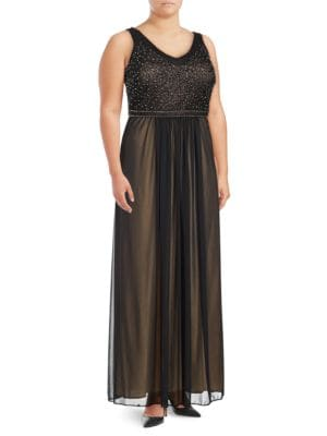 Beaded Fit and Flare Gown by Xscape