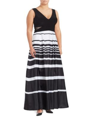 Pocketed Striped Sleeveless Ball Gown by Xscape