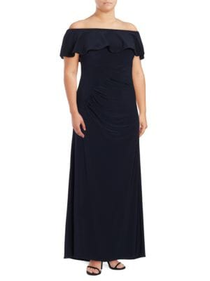 Off-the-Shoulder Ruched A-Line Gown by Xscape