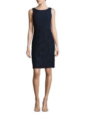 Boatneck Lace Sheath Dress by Karl Lagerfeld Paris