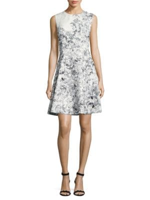 Floral Jacquard Fit-and-Flare Dress by Badgley Mischka