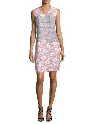 Floral-Print V-Neck Sleeveless Dress by Karl Lagerfeld Paris