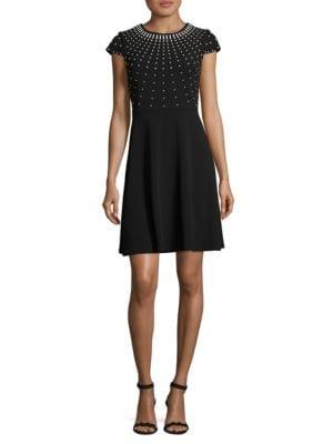 Beaded Cap Sleeved Dress by Karl Lagerfeld Paris