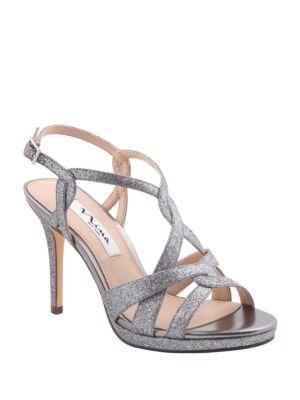 Raeni Glitter Fabric Platform Sandals by Nina