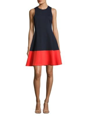 Sleeveless Colorblock Fit-and-Flare Dress by Eliza J