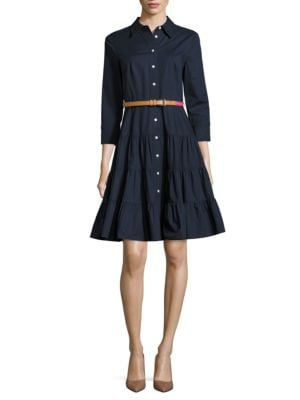 Solid Button-Down Shirtdress by Eliza J