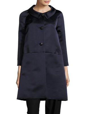 Solid Button-Down Trapeze Coat by BARBARA TFANK INC.
