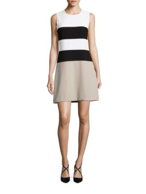 Jewelneck Sleeveless Colorblock Dress by Calvin Klein