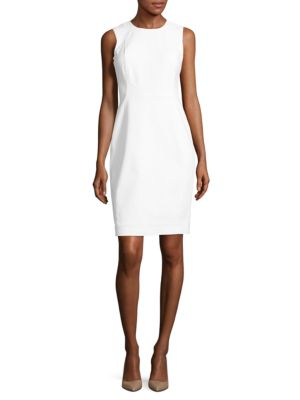 Cotton-Stretch Sheath Dress by Calvin Klein